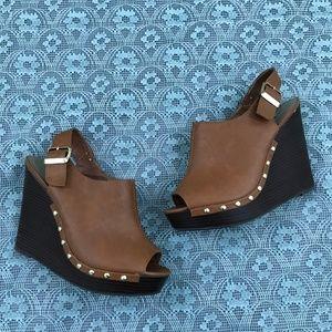 Torrid Brown Cognac Wedge Shoes